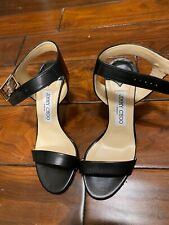 New Jimmy Choo black 5.5 35.5 leather open toe ankle strap sandals/shoes $675