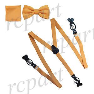 New Y back Men's Vesuvio Napoli Suspenders Bowtie Hankie clip on party prom gold