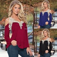 Summer Womens Loose Casual Long Sleeve Sexy Lace T-Shirt Blouse Ladies Tops 6-14