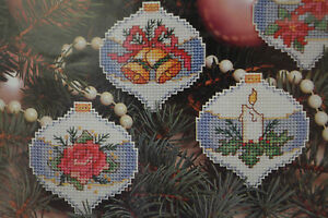 Vintage Sunset Plastic Needlepoint Kit Set of 12 Christmas Victorian Ornaments