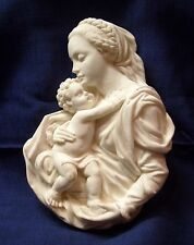 Vintage Madonna & Child 3-D Wall Plaque Crushed Marble Composition Signed RG