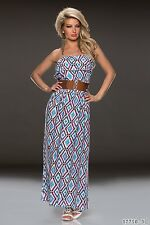 Summer & Party Club Wear Chic Multicolour Blue Maxi Dress with Belt UK size 8-10