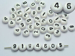 """500 White with Black Assorted Number """"0-9"""" Acrylic Coin Beads 4X7mm"""