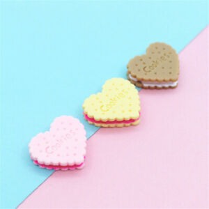 23x20mm Assorted Mini Resin Biscuits Food Cabochons Charms Heart Shaped 20-Pack
