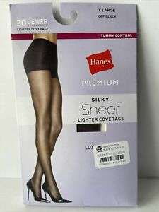 Hanes Premium Silky Sheer Tummy Control Pantyhose Off Black Size XL