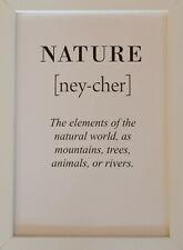Text-Bild NATURE Druck schwarz / weiß  im weißen Holzrahmen - Wohnen Dekoration