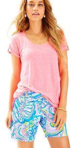"NWT Lilly Pulitzer $78 Longer Jayne Short Blue Multi Gillty Pleasure 7"" Inseam 0"