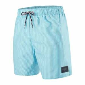 "Speedo Sun Striped 16"" Men's Swim Shorts, Turquoise/White"