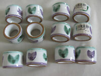 Caleca Violetta Hand Painted in Italy -Purple/Green - Napkin Ring(s) - 13 Avail