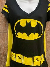 Batman Logo  Black With yellow Cape on back Knit Top yellow logo Large