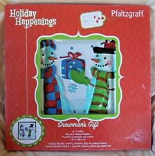 "Pfaltzgraff Square Platter with Box Snowman's Gift 15"" Glass Holiday Christmas"