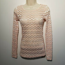 Forever 21 Pink Sz S Lacy top blouse long sleeves Size S