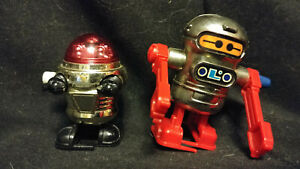 Rascal Robot Red & Silver 1977 and Acrobot 1979 Wind-Up Toy TOMY