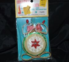 Vtg MCM Christmas Ornament STRAW TIME CLOCK Japan NOS Sealed! Ready to Hang