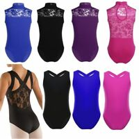 UK Girl Ballet Dance Leotard Gymnastic Turtle Neck Sleeveless Jumpsuit Dancewear