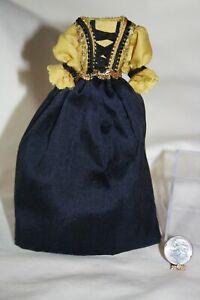 Miniature Dollhouse Renaissance/Medieval Gold & Blue Ladies Satin Dress 1:12 NR