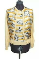 Salvatore Ferragamo Twinset Shell Top Cardigan Sweater M Butterfly Silk Striped