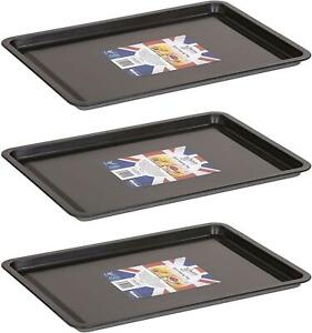 3x Wham Pack 3 Non-Stick Baking Cooking Oven Sheet Roasting Dishes Tray - 32cm