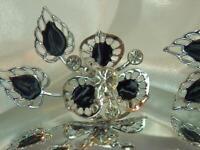 Ice Rhinestone Enamel Vintage 60's Silver Tone Dangle Screw Back Earrings 549j0