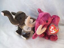 Ty Beanie Babies Baby Lot of 2 Elephants Colosso & Trumpet w/ Tags & Protectors