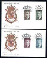 2 sobres primer día sello España 1996 3461/3464 Juan Carlos I Rey serie basica