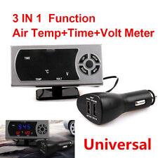 Durable 3 IN 1 12v/24V Racing Truck Car Clock+Voltmeter+Temperature Gauge Meter