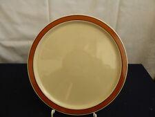 Melitta Keramik Beige flache Teller mit Rötlich Braunem Band Vintage Handgemalt
