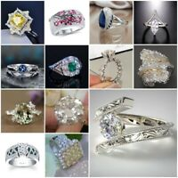 Fashion 925 Silver White Topaz Citrine Emerald Ring Women Wedding Men Party Gift