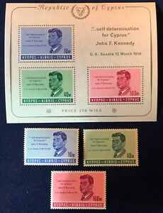Cyprus 1965 J. F. Kennedy Anniversary of Death Block & Series Complete MNH XF/S