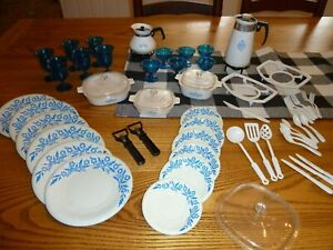 Vintage Corning Ware Plastic Play Toy Dishes Blue Cornflower Corelle HUGE lot