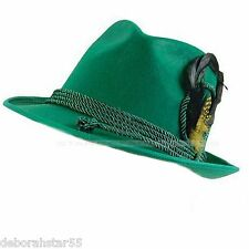Green Bavarian German Oktoberfest Fancy Dress Costume Solid Swiss Tirol Felt Hat