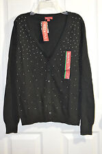 Merona Women's Cardigan Sweater w/Bows -  Stud Front Black / Grey - Asst Sizes