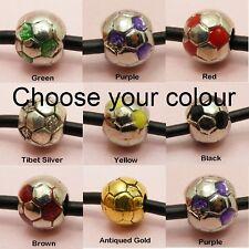 Sports 3D SOCCER BALL / FOOTBALL Bead CHARM fits European Bracelet or Necklace