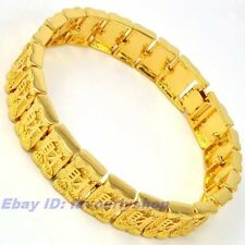 """8.5"""" 14mm 51g CHINESE FORTUNE 18K YELLOW GOLD PLATED WRISTBAND BRACELET 4323b"""