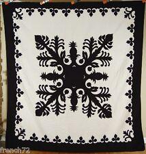 GORGEOUS Black & White Hawaiian Pineapple Cutout Applique Quilt ~NICE BORDER!