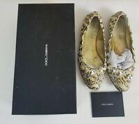 D&G Dolce & Gabbana Womens Crystal Python Ballet Flats Beige EUR 38.5 US 8.5 B