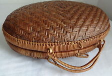 Vtg Japanese Bamboo Wood Purse Oval Moon Handbag Basket Tote Bag Hard to Find