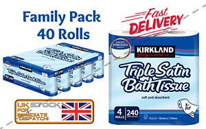 Kirkland Signature Triple Satin Tissue Paper Soft Absorbent Family Pack 40 ROLLS