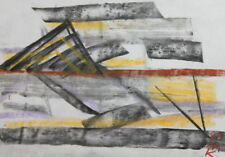 ABSTRACT CUBIST CONSTRUCTIVIST PASTEL PAINTING SIGNED