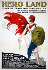 W50 Vintage WWI Hero Land War Time Fund Raising Poster WW1 A4