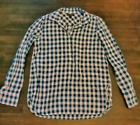 J Crew Women's Plaid Shirt  Half Button Down Long Sleeve Size 0 Pink and blue