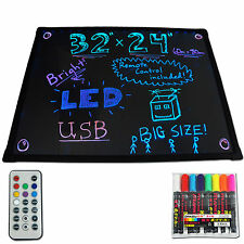 "32""x24"" LED Menu Dry Erase Message Writing Board Sign Pens Illuminated Lighted"