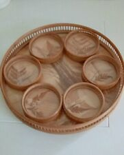 Vintage banboo coaster and tray set circa 50s tray eleven inches diametet