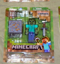 Lot of 2 Minecraft Game Action Figures Zombie & Creeper New W/ Accessories