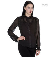 Hell Bunny Elegant Goth Shirt Ruffle Top DEMETRIA Blouse Black Chiffon All Sizes