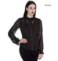 Hell Bunny Elegant Goth Shirt Ruffle Top DEMETRIA Blouse Black Chiffon XS 8