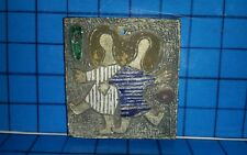 Handmade ART POTTERY TILE Sisters Mother Daughter Signed POE Unique 4 x 4