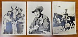 "Gene Autry and Roy Rogers Original 1930's-40's Premium Photos 5""x7"" Lot of 3"