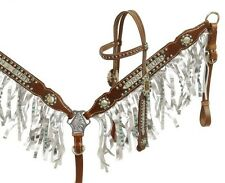 Showman Bridle & Breast Collar Set w/ TEAL Rhinestone TURN & BURN Inlay & Fringe