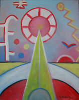 """Original Oil Painting """"ABSTRACT CIRCUS"""" on Canvas 20"""" x 16"""" (Art/Picasso/Miro)"""